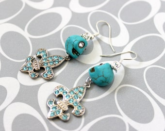 Teal Skull & Fleur De Lis Earrings - Kaci Corax Collection
