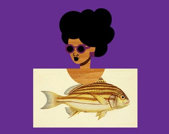 Fish Postcard Girl Art, (Nautical Sea Creature Art, Vintage Fish Illustration, Natural Hair Black Art) 12x12 Large Purple Square Print