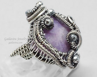 Sterling Silver and Purple Quartz Ring - Size 8 1/2