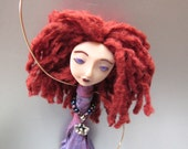 Chime Doll -  with Flower Charm - Art Doll - Hanging Doll - Polymer Clay - Brass Bells - Silver - Purple - Red - Glass Beads - Handmade doll