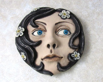 Muse - Hand Painted - cement cast - Wall Decor - Girl - Face - Flowers - Wall hanging - Sculpture - Hydrocal - Gypsum