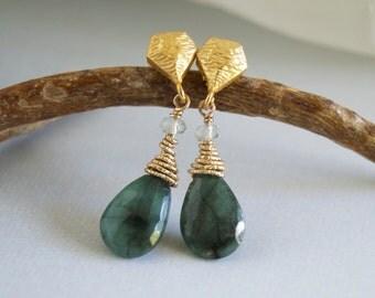 Emerald Gemstone Earrings Gold Wire Wrapped Green Gemstones Emerald Birthstone May Birthday Gold Dangle Emerald Earrings Gold Vermeil