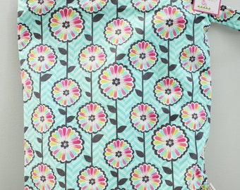 Wet bag ICKY Bag XL teal pink flower modern hipster PETUNIAS diaper bag cloth diapers sack nappy large waterproof liming zipper handle