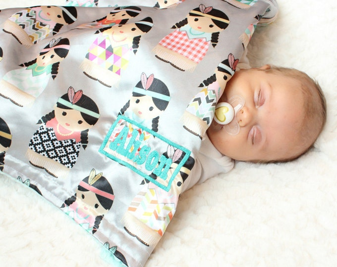 Personalized Little Fluffy Baby Blanket satin minky indian teepee aztec print hipster baby gift security blanket lovie lovey shower gift mod