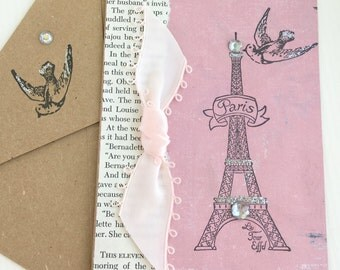 Eiffel Tower Handmade Card.Eiffel Tower All Occasion Card.Paris Blank Card.Paris Greeting Card.French.Vintage Style.Birthday.Thank you Card