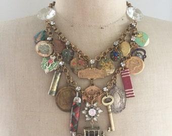 Steampunk Vintage Charm Statement Necklace - Queen Elizabeth British