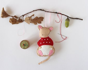 Felt Ornament PDF Sewing Pattern - Monty Mouse - Christmas Tree Ornament Pattern