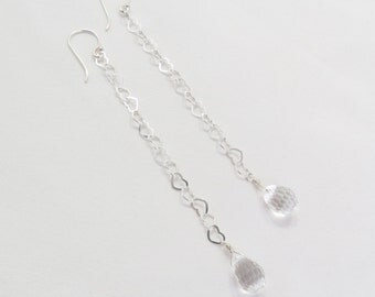 Long Heart Chain Sterling Silver Dangle Christian Earrings - Sparkly Swarovski Crystal Bridal - Abundance of the HEART Collection