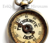 Psychokinetic Energy Gauge Monitor, PKE, Steampunk Necklace, Brass Toned Device, Neo-Victorian Accessories, Steampunk Science, Men's Jewelry