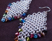 Rainbow Confetti - Chain Maille Earrings with Swarovski Crystals