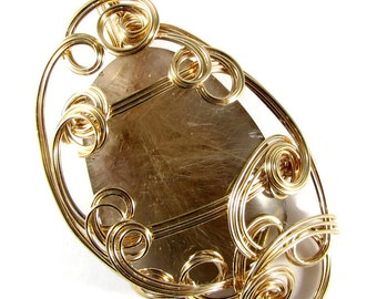 Pendant Wire Wrapped Sculpted Rutilated Quartz and 14k Gold Fill Omega Statement Large Pendant