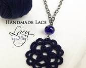 Dark Lace Necklace . Long necklace . Flower Necklace . Focal Bead Pendant Boho Hip Teen Girl Mom Gift Holiday Party Christmas