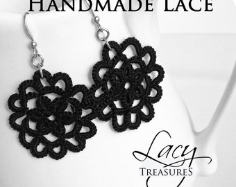 Black Lace Dangle Earrings . Black Jewelry . Black Dress Accessory . Basic black . Customize . Fancy party dressy statement holiday gift