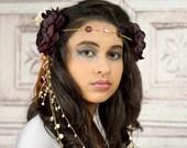 Gypsy Headpiece, Plum, Ivory and Pink, Mucha, Boho Headband, Tribal Dance, Woodland Circlet, Floral Headpiece, Flower Crown, Elven, Fairy