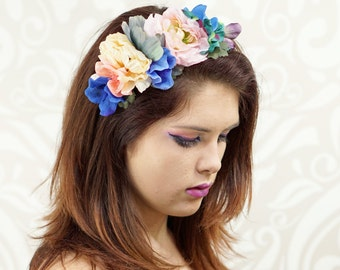 Woodland Flower Crown Headband, Floral Headpiece, Blues and Pinks, Woodland Headdress, Bridal Crown, Bridal Headpiece, Boho Headband