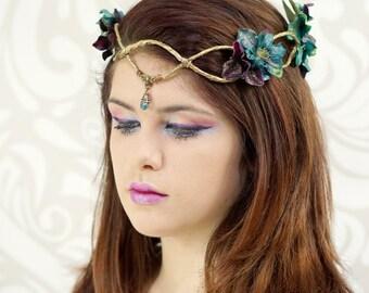 Gold Elven Crown, Dark Teal and Purple, Elven Headpiece, Elven Headdress, Fairy Crown, Woodland Flower Crown, Circlet, Costume Headpiece