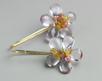 Soft Shade Amethyst Flower Earrings with Pink and Yellow Sapphire Clusters