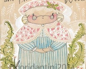 Art Print, The Grandma from The Little Red Fabric collection by Cori Dantini & Blend Fabrics , Archival Limited edition reproduction