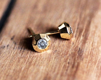 Moissanite stud earrings, solid gold earrings, yellow gold earrings, gold earrings 14k, modern stud earrings gold, tiny stud earrings gold
