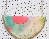 Pendant necklace Long Boho Modern Neon Watercolor Peach pink Blue Silver Geometric Minimal Summer Beach Jewellery Jewelry Watercolour Gift