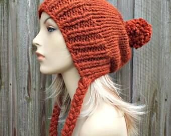 Rust Orange Slouchy Hat Womens Hat Rust Hat Rust Beanie Slouchy Beanie - Charlotte Slouchy Ear Flap Hat - Orange Beanie