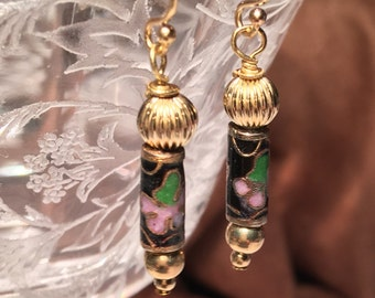 Cloisonne Beads and 14K rolled gold beads - pierced Free Shipping!
