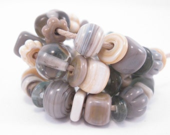 Handmade Lampwork Beads SRA Earth Tones Neutral Mix Ivory Taupe Gray