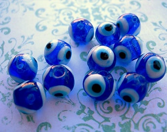 Blue Glass Evil Eye Beads 4 layers 8mm lot of 12 Amulet beads for protection