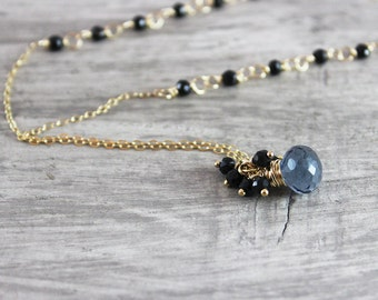 Black Spinel Necklace, As Seen on TV, As Seen on Supernatural, Beaded Gemstone Necklace, Gold Stone Necklace, Wire Wrap Pendant Necklace