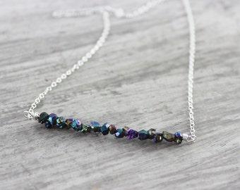 Rainbow Gemstone Necklace, Sterling Silver Necklace, Titanium Pyrite Necklace, Bar Necklace, Dark Blue Necklace, Gemstone Bar Necklace