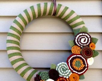 Autumn Wreath - Fall Wreath - Thanksgiving Wreath - Felt Flower Fall Wreath - Felt Wreath - Yarn Wreath -Ribbon Wreath -Green Striped Wreath