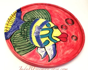 Ceramic Stoneware Fish Plate Handmade Made to Order Goldbar Wrasse and Bubbles on Red  PL002