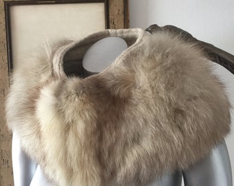 Large Fluffy White Fox Collar with Wool Backing