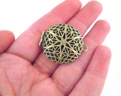 27mm round filigree lockets, antique brass plated, Pick your amount