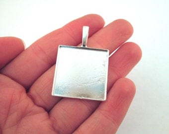 25mm silver plated square bezel settings, pick your amount, B124