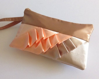 Personalized Caramel Peach Beige Diagonal Ruffled Wristlet