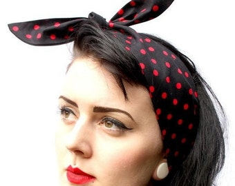 Black Red Polka Dot 50s Style Head Scarf / Neck Tie