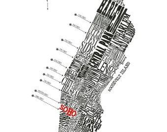 "Customizable - Manhattan Neighborhood Map 11 x 14"" Print"
