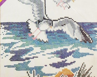 Beach Stamped Cross Stitch Kit – Vintage 70s Pattern - Seagull Birds | Ocean | Summer Embroidery Kit