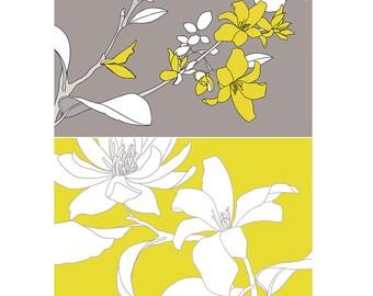 Little Bird Branch + Yellow Flower Print