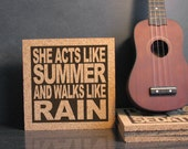 TRAIN Band - She Acts Like Summer And Walks Like Rain - Drops Of Jupiter - Cork Lyric Wall Art Trivet - Kitchen Decor Office Dorm Room Art