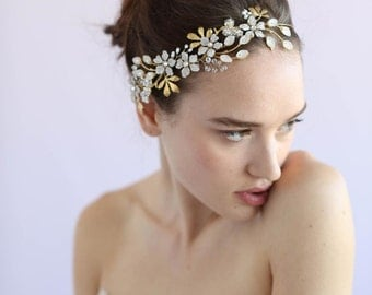 Bridal hair vine -Garden floral halo - Style 603 - Made to Order