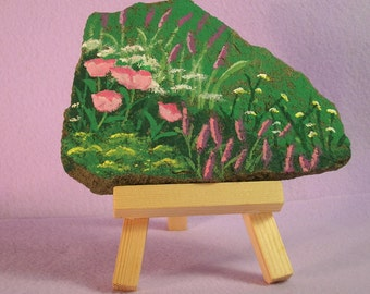 Hand Painted Wild Flowers On Stone With Easel, Meadow Flowers On Stone, Stone Painting With Wood Easel