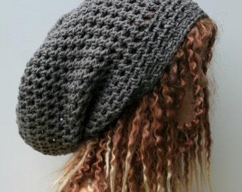 Stormy gray slouchy hat, sock dread Tam, grey slouchy Beanie, Hippie Bohemian hat, snood slouch hat baggy beanie woman beanie man dreads hat
