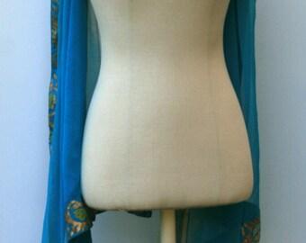 Indian scarf, Ethnic Vintage Scarf, Dupatta stole scarf, aqua teal blue border summer scarf, Bohemian shoulder shawl, cover up travel scarf