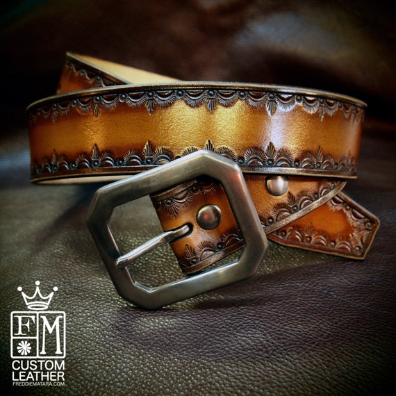 Leather Belt Hand Tooled Brown fade Western/ Native border Custom made for YOU in New York City by Freddie Matara