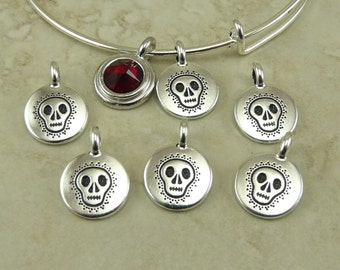 5 TierraCast Skull Charms > Sugar Skully Day of Dead Dia de los Muertos Goth - Silver Plated Lead Free pewter I ship Internationally 2455