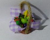 Realistic food Miniature Basket FULL of Fresh Fruit Dolls House Miniature Food diorama ooak art