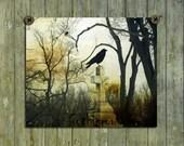 Fine Art Image, Crow Picture, Crow On Cross, Foliage, Gothic, Aged Colors, Blackbird Art - Rustic Blackbird