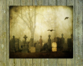 Goth Graveyard Photo, Eerie Print, Misty Scene, Spooky, Aged, Flying Crows, Ravens, Halloween Art - Foggy Gothic Necropolis